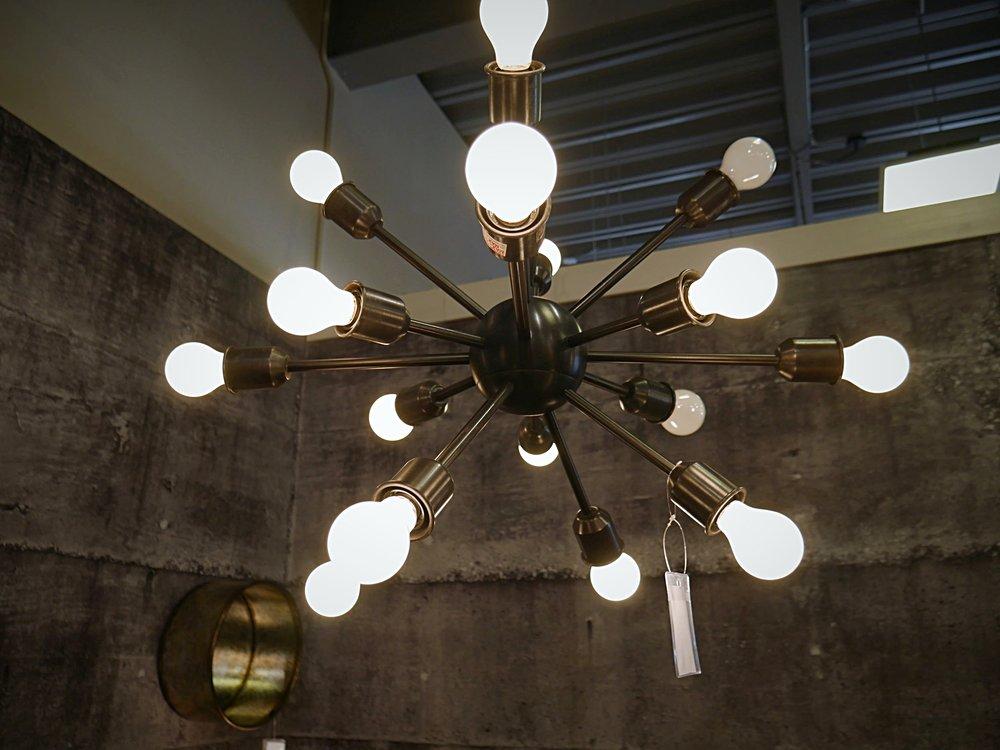 Closeup of industrial chandelier @Ashleyhomestore TT