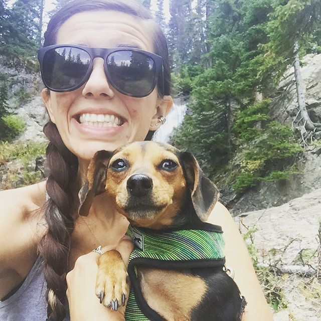 "We had a big weekend! Lila hiked her first ""real"" trail...I.e. 9 miles to a waterfall. Oh, and Adam adopted a dog! Welcome to the fam, Hazel ❤️🐶 #apupnamedlila #apupnamedhazel #advendturesofhazelandlila #hazedandconfusedpup #adoptdontshop #withadamblue #madamnkilla"