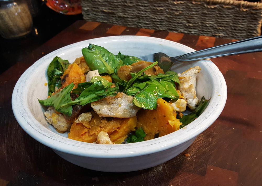 sweet potato, chicken and spinach salad