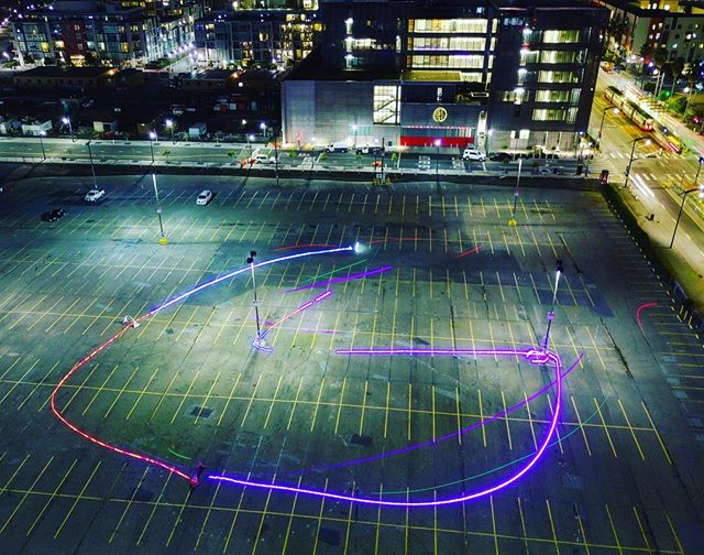 Stacked long exposure shots with the #mavicpro of the #415fpv Rainbow Road Night race!
