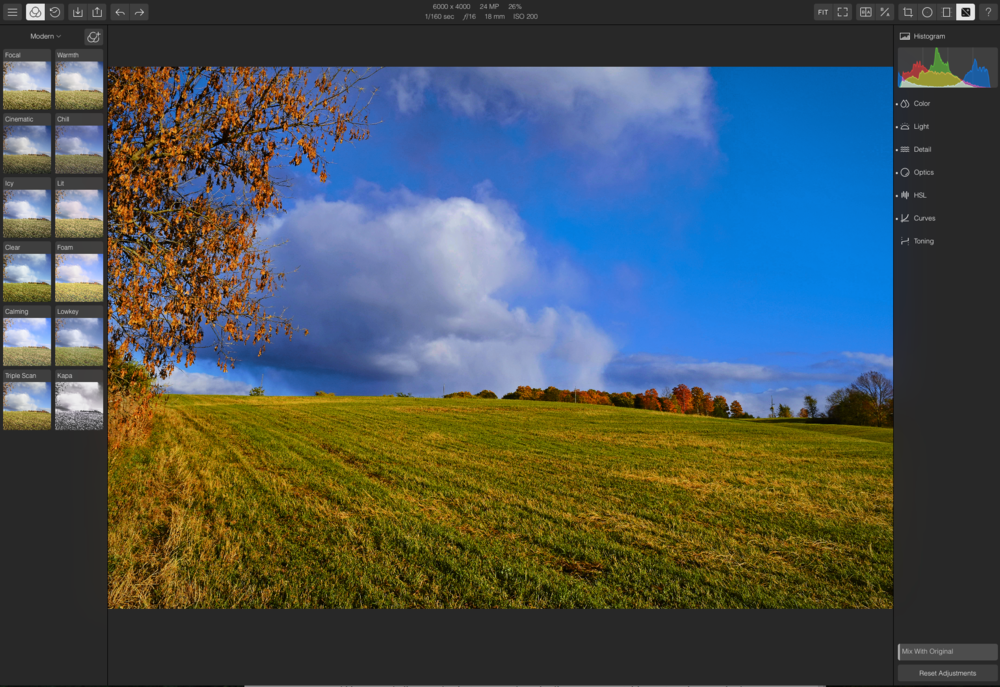 The Polarr editing window in your browser
