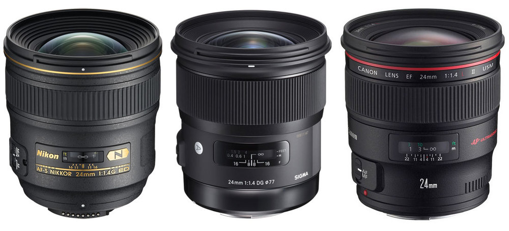 Nikon, Sigma and Canon 24mm f/1.4 options