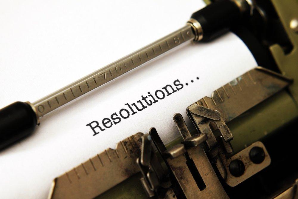 Resolution text on typewriter