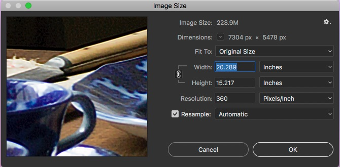 Screen capture of the Photoshop Image Size Dialog.  Note that the resolution is measured in PPI which when using the original size yields a native size of 20.289 inches by 15.217 inches.  That's the native size, but not a measure of maximum size or minimum for that matter, and that is at a ppi rating of 360ppi