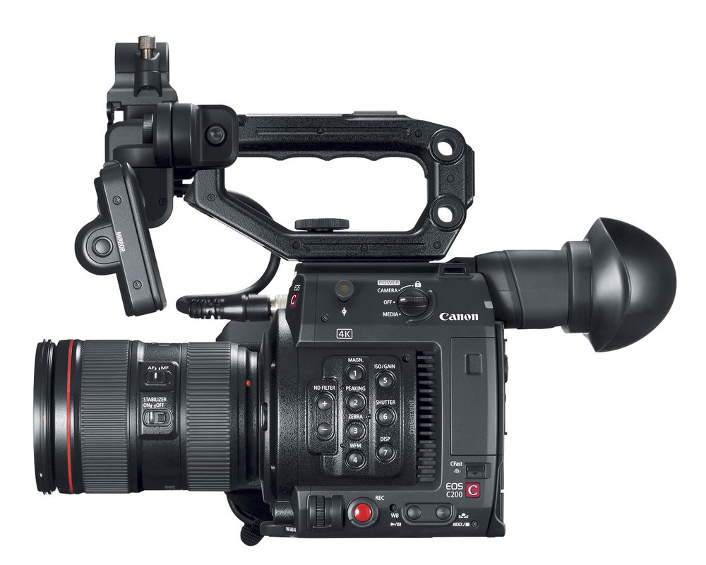 The Canon C200.  The C200B has no LCD,no EVF and no handle.