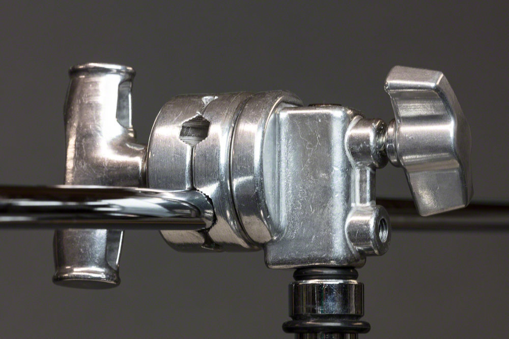 Close up of boom arm mounted in the knuckle to the centre post of the stand