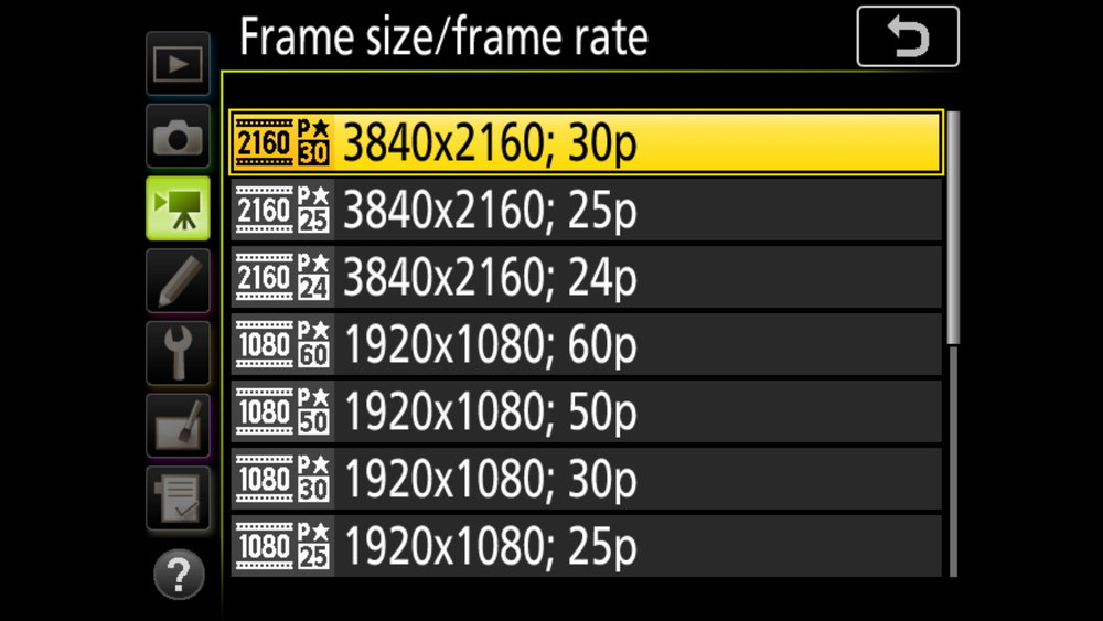 Great options in 4K frame rates, and popular options in FullHD. If this camera could do 120fps in FullHD it would kill.