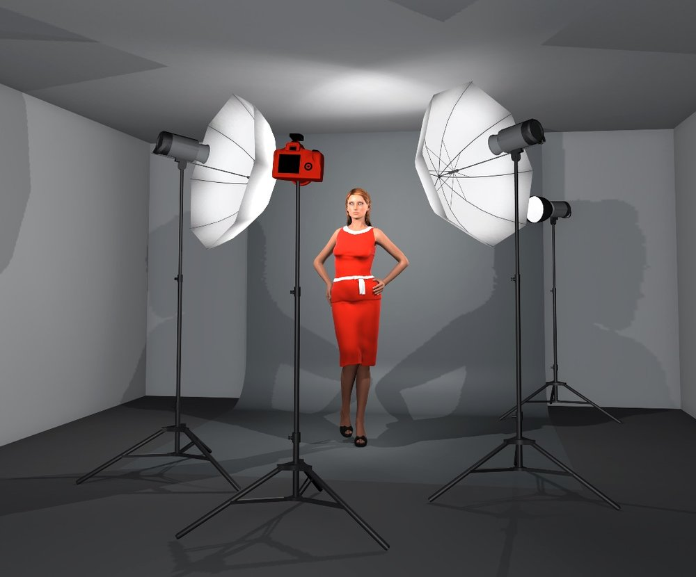 A simple 3 point lighting layout built in Set A Light Studio