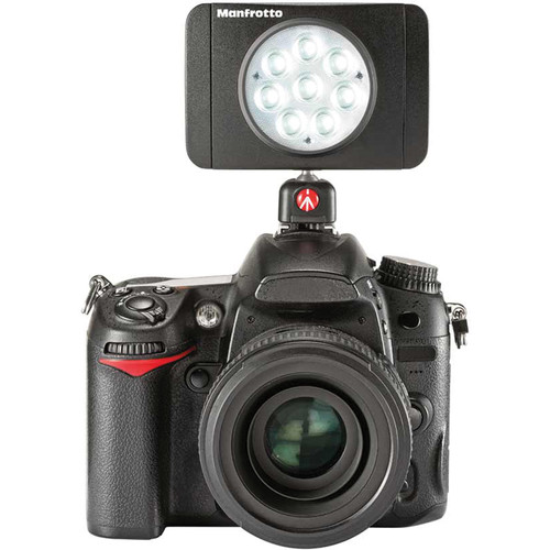 The 8 LED Manfrotto Lumimuse is a wonderful portable light that can be used on the camera hotshoe.  About $93 USD