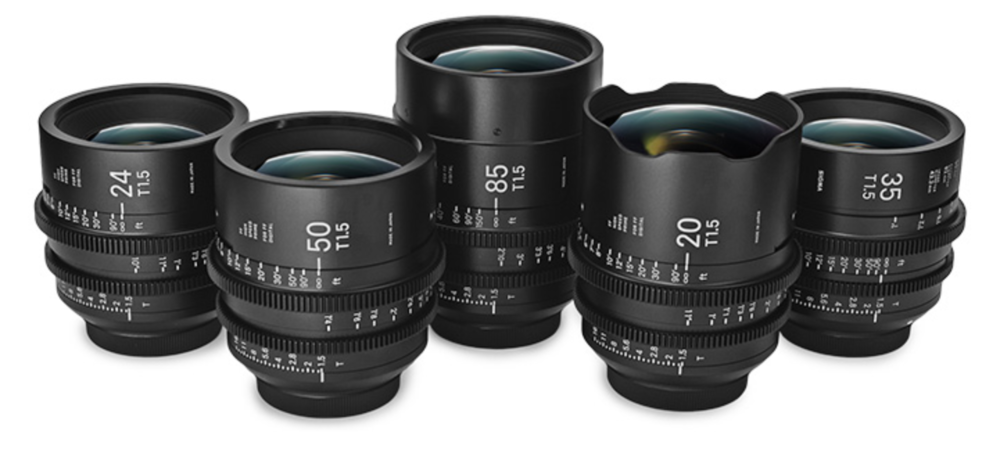 Some of the prime lens examples from the Sigma Cinema lineup. Take particular note of the large easy to read numbers and the dual focus and T stop scales so you can verify settings from either side of the camera. For my evaluation, I had all of these in Sony E mount with full frame coverage on the a7IIs
