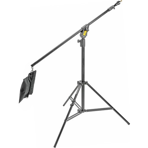 My favourite stand for hot shoe flash is this Manfrotto 420B boom stand. You can certainly get cheap offshore clones, but this one is built tough and will last you a long time. Note that it comes with a sandbag for the arm, just don't forget to get one for the base