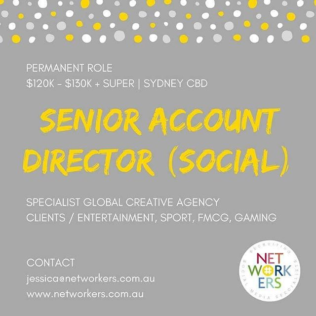 Hey guys! Networkers is recruiting some awesome roles for a new social media client here in Sydney. If you're a senior social strategist or senior account director with roots in social, working on global creative campaigns, drop me a line today... jessica@networkers.com.au . . . . . #socialmedia #socialjobs #socialmediajobs #digital #agency #digitalagency #digitalstrategy #socialmediastrategy #creativeagency #creativejobs #sydneyjobs #redfern #surryhills #sydneycbd #socialcontent #socialcontent #accountdirector #strategist