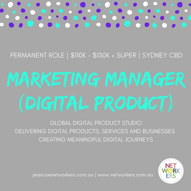 Happy Friday! Networkers is recruiting a Marketing Manager with killer digital, social, PR & events experience. If you're obsessed with digital products, startups and creating meaningful user journeys, drop me a line today... jessica@networkers.com.au . . . . . #socialmedia #socialjobs #socialmediajobs #digital #agency #digitalmarketing #marketingmanager #sydneystartups #creativeagency #creativejobs #sydneyjobs #redfern #surryhills #socialcontent #socialcontent #accountdirector #strategist #Sydney #digitalproduct  #digitalagency #digitalstrategy #productdesign #sydneyjobs #surryhills #sydneycbd #PR #events