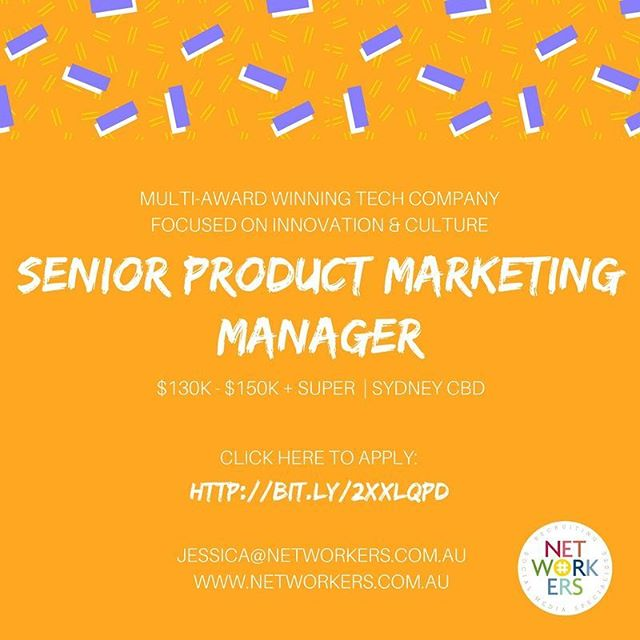 Hi, hi. Seeking a 《Senior Product Marketing Manager》 $750 gift vouchers for referrals (T&Cs apply) . . Job ad: http://bit.ly/2xXlqpD tag a friend or email jessica@networkers.com.au for details 😊 . . . . . . .  #socialmedia #socialjobs #socialmediajobs #digital #agency #digitalmarketing #marketingmanager #sydneystartups #creativeagency #creativejobs #sydneyjobs #redfern #surryhills #georgestreet #socialcontent  #product #productmarketing #saas #Sydney #digitalproduct  #productstartup #productdesign #sydneyjobs #sydneycbd #recruitment #digitaldesign #wynyard #martinplace #jobs #digitaljobs #techjobs