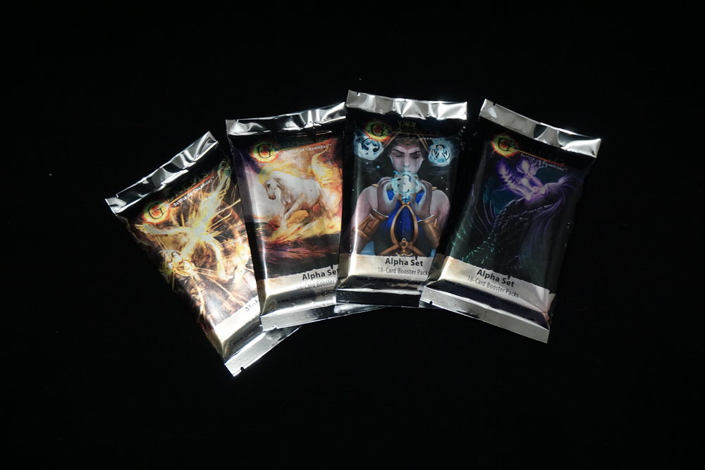 All four covers for the 18 card booster packs