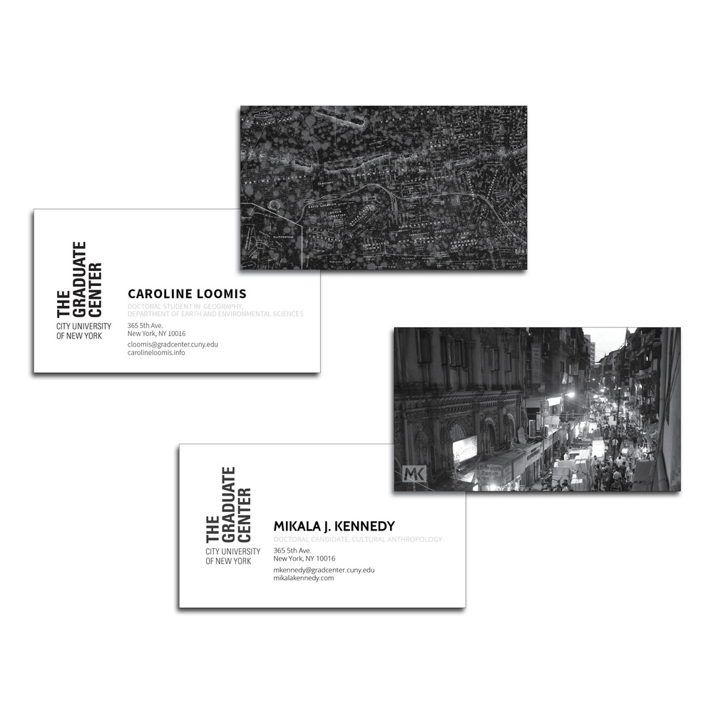 A customized visiting card series for students at the CUNY Graduate Center.