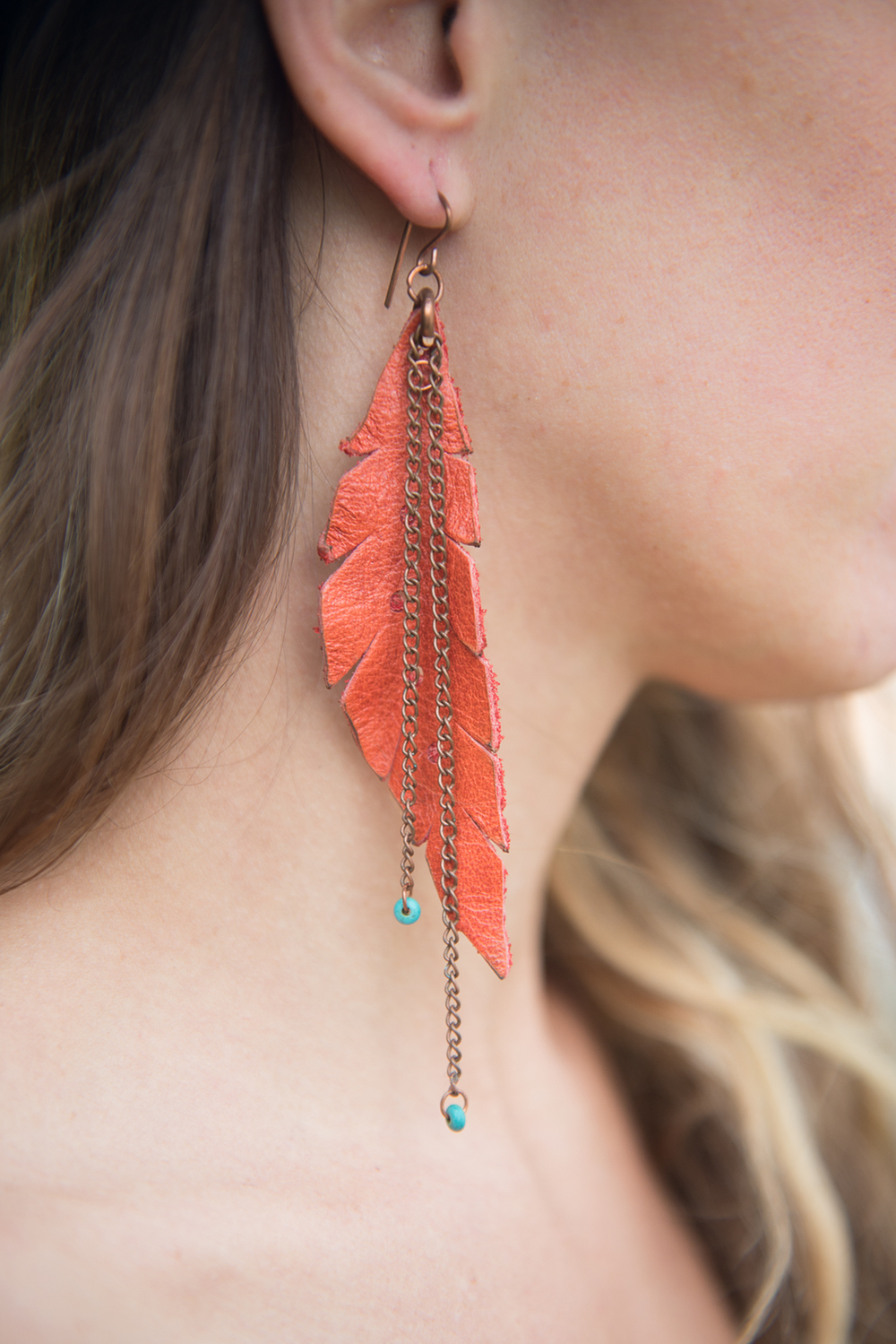 feather from leather scrap earrings