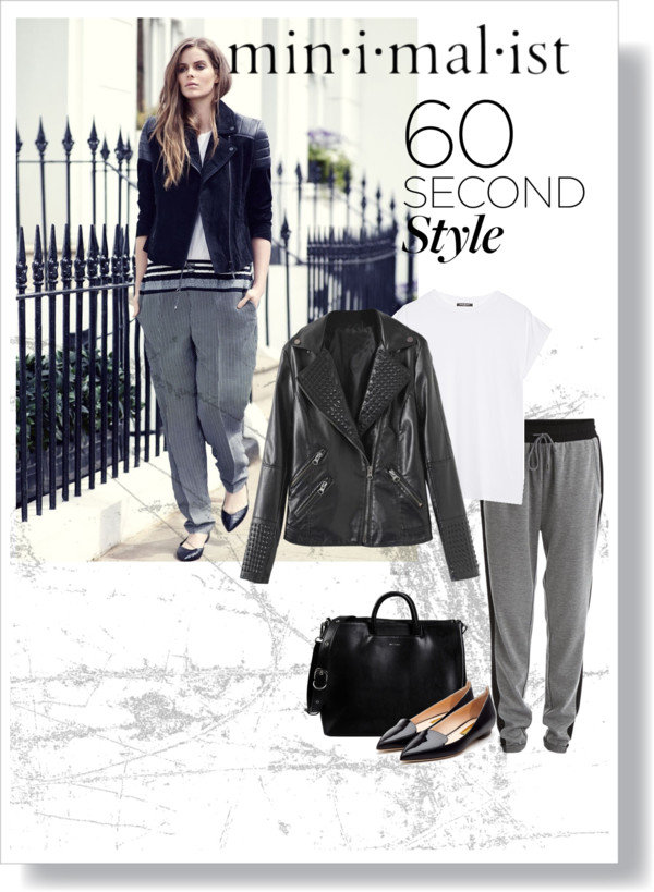Jacket:  65 CAD     BLACKFIVE.COM   Sweat pants:  40 CAD     VILA.COM   White shirt:  280 CAD     NET-A-PORTER  .COM   Purse:  240 CAD     YOOX.COM   Shoes:  985 CAD     RUPERTSANDERSON  .COM