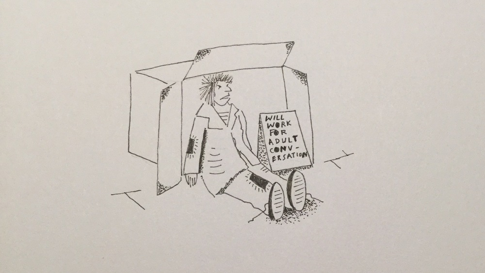 I asked my husband to draw me a doodle that summed up my job-hunting experience, and this is what he came up with: a tramp in a cardboard box. Thanks duck x