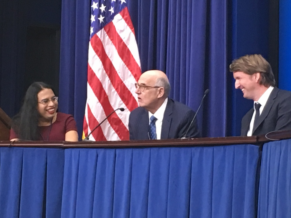 (L) Outreach and Recruitment Director in the Presidential Personnel Office Raffi Freedman-Gurspan, (C) Jeffrey Tambor (Transparent) making a joke about his age and (R) Tom Hooper, Director of The Danish Girl