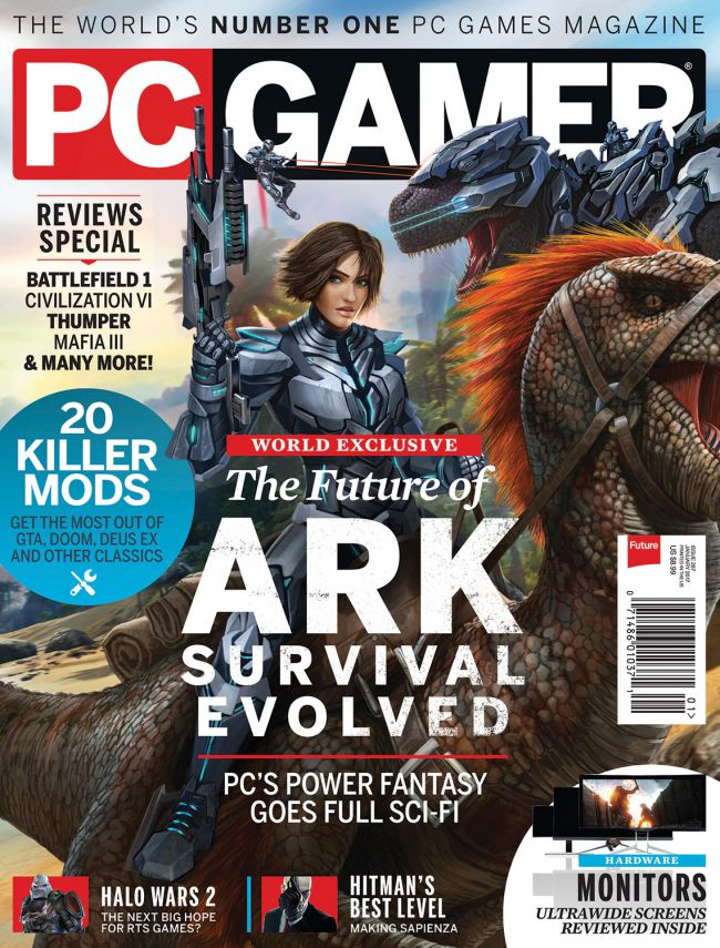 Detailing the release of ARK's 'TEK Tier', PCGamer featured the upcoming new content patch in their January 2017 issue as the cover story.