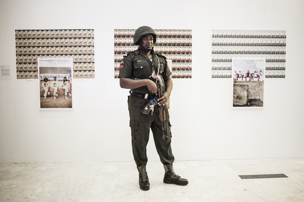 An army officer guarding my work at Eko hotel