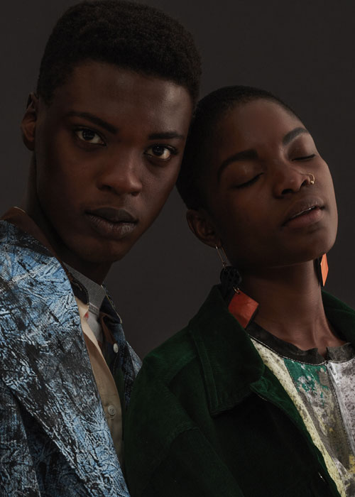 Sisipho wears W35T top and jacket  Tukiya wears W35T dress, Nicholas Coutts jacket, Misibaba accessories