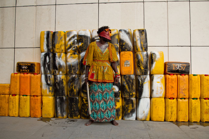 4 of 6: Serge Attukwei Clottey and GoLokal, My Mother's Wardrobe, performance at Gallery 1957, 6 March 2016