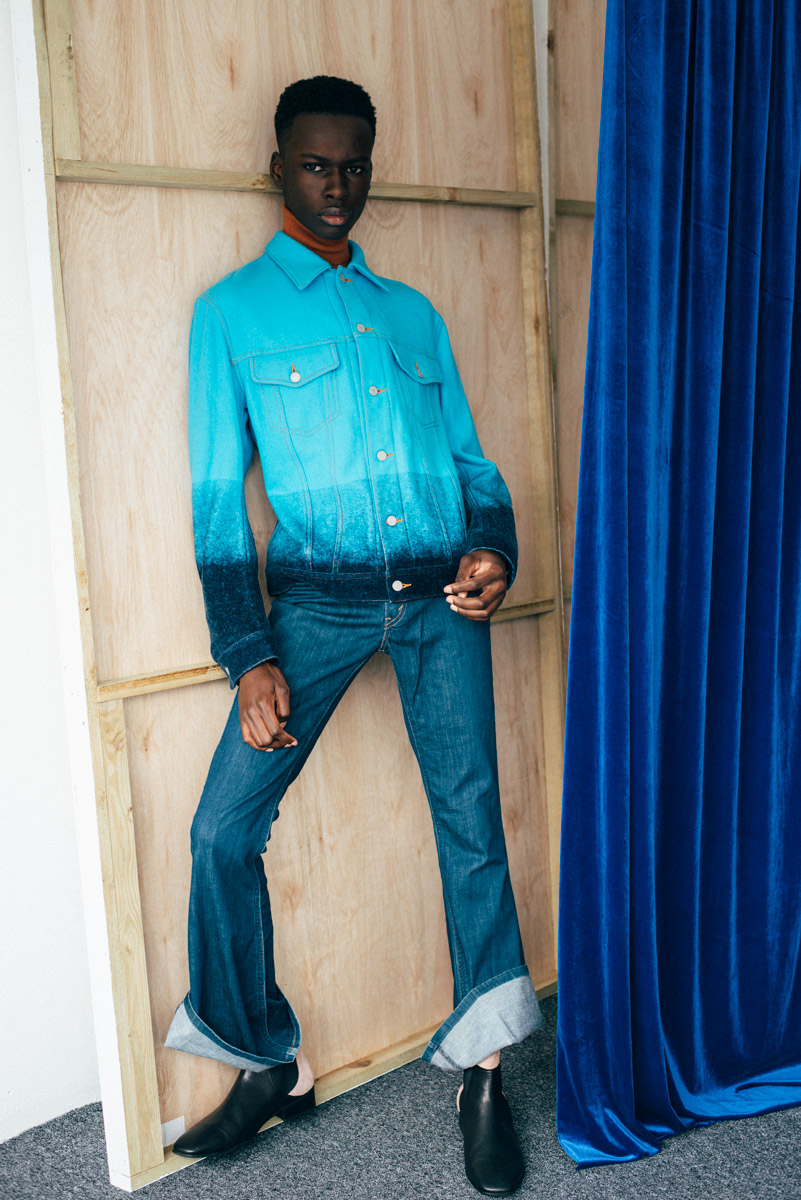 Casely-Hayford jacket, Wooyoungmi knit, Mint Vintage Wrangler jeans, Wooyoungmi boots