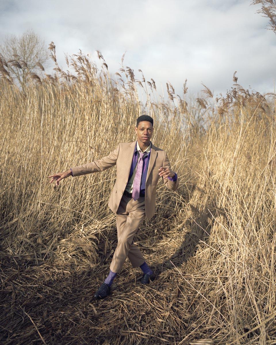 Moss London suit, YMC shirt, Billionaire Boys Club jacket, Penrose tie and socks, Levi's belt, Base London shoes