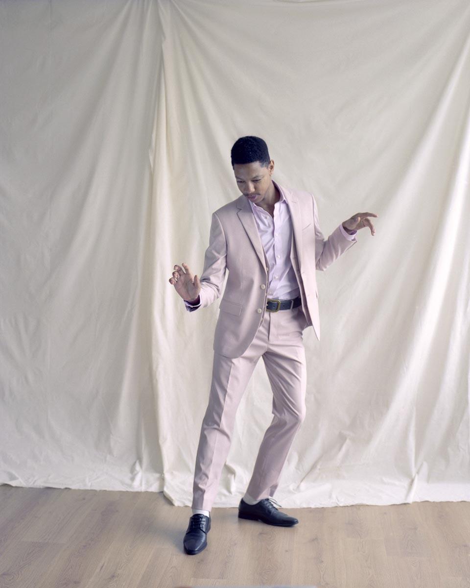 Moss London suit and shirt, Levi's belt, Base London shoes