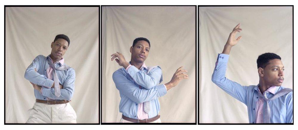 Uniqlo pink shirt, Remus Uomo blue shirt, Glymphex shorts, Penrose tie, Palladium sandals, stylist's own belt