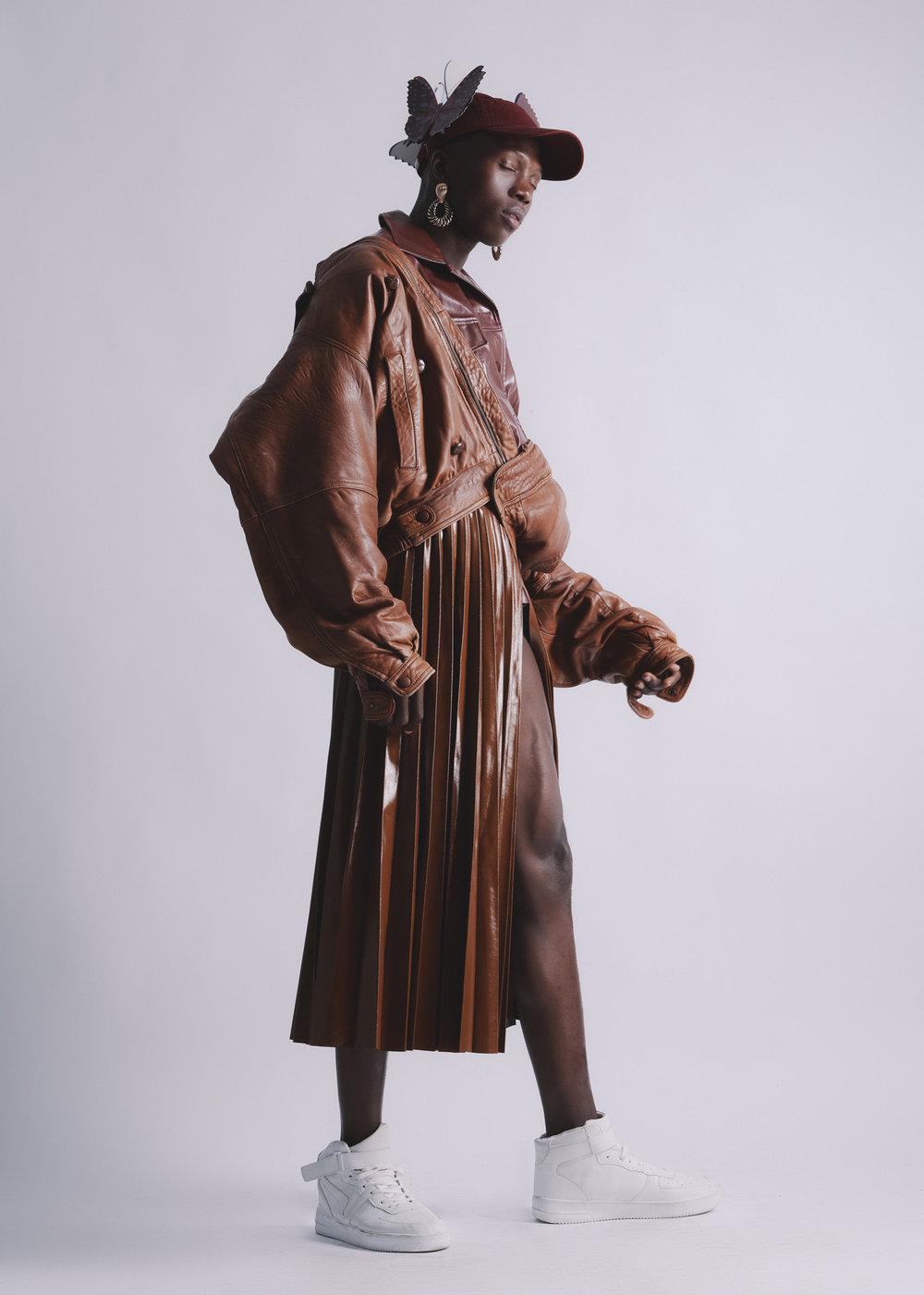 Topman hat, Zara skirt, jacket and earrings, Zulu jacket, Nike shoes