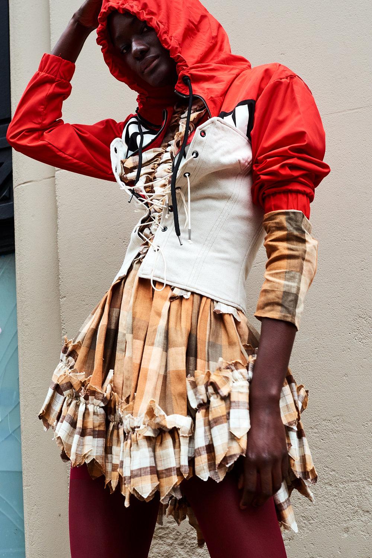 Vision Streetwear windbreaker, Isabel Marant corset, Kelsey Randall dress