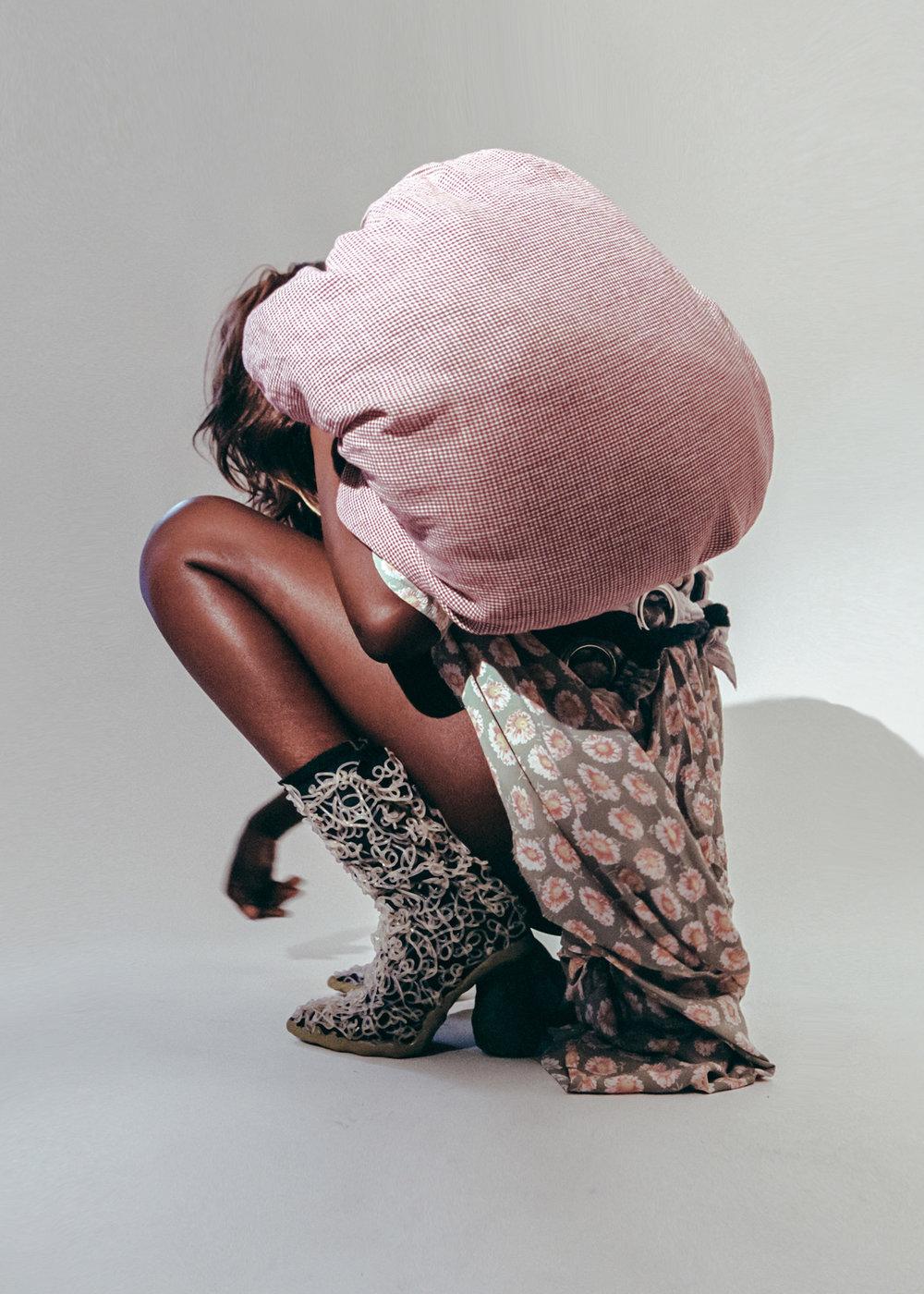Alva Ilta Johansson dress, Jordan Dalah hat (worn as bag), Diane Gaignoux boots