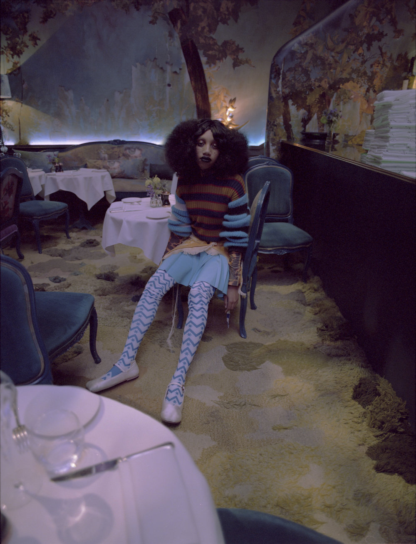Memento No.3 by Kenzo jumper, Charlotte Knowles top, Jessica Bangall wrap skirt, Krasimira Stoyyneva pleated skirt, Carmen Chan stockings, Jordan Dalah shoes