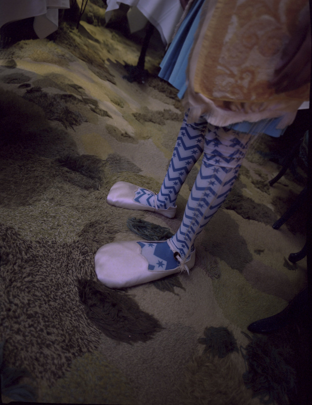 Memento No.3 by Kenzo jumper, Krasimira Stoyyneva pleated skirt, Carmen Chan stockings, Jordan Dalah shoes