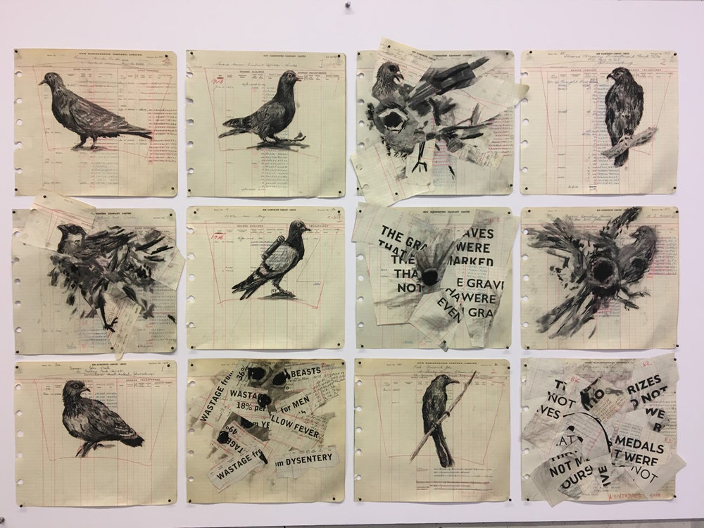 William Kentridge, Drawing for The Head & the Load (Twelve Birds), 2018. Courtesy the artist and Goodman Gallery