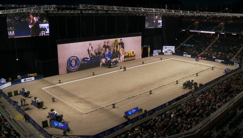 Impressive arena with a lot of spectators for today´s Saab Top 10 Grand Prix at Sweden International Horse Show