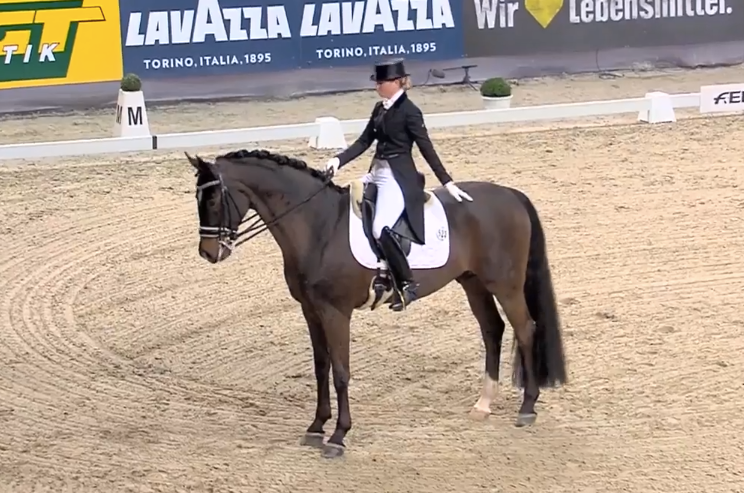 Brave Sir Donnerhall II and Morgan Barbancon Mestre finishing their World Cup freestyle today