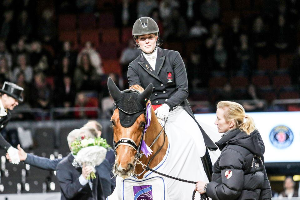 Cathrine, Cassidy and coach Nathalie at yesterday´s World Cup Grand Prix pricegivning at Gothenburg - photo credit: Kim Lundin