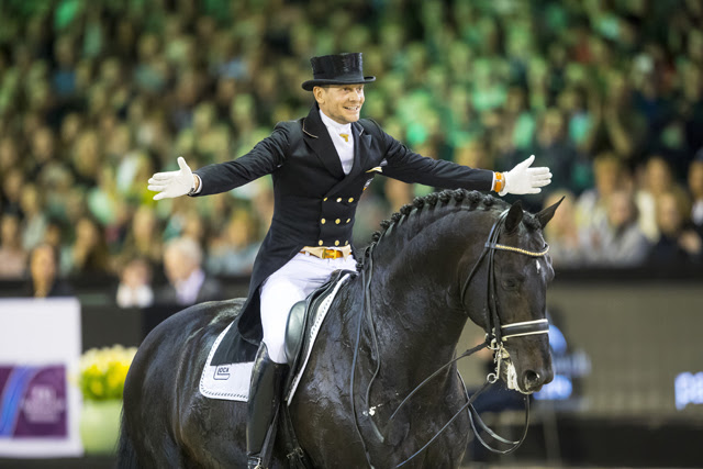 Supersonic Zonik! The Netherlands' Edward Gal celebrates a fantastic performance for second place with the 10-year-old Glock's Zonic at the ninth and last leg of the FEI World Cup™ Dressage Western European League in 's-Hertogenbosch (NED).  (FEI/Leanjo de Koster Digishots)