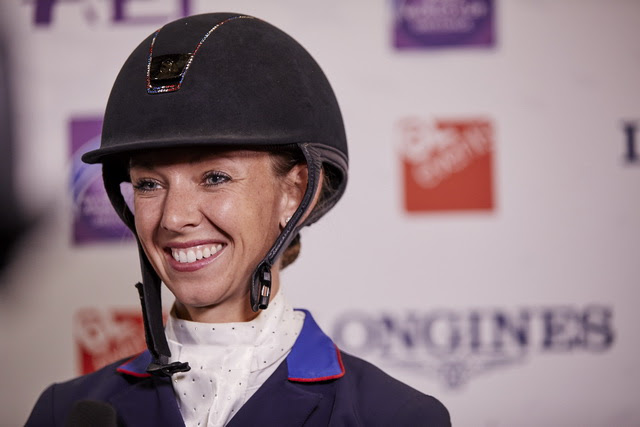 America's Laura Graves pinned defending champion Isabell Werth from Germany into runner-up spot in today's Grand Prix with a personal-best score from her gelding Verdades at the FEI World Cup™ Dressage 2018 Final in Paris (FRA). (FEI/Liz Gregg)