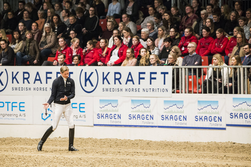 Patrik Kittel during his clinic at this years Danish Warmblood stallion show in Herning, DEN.  Photo credit: H2R
