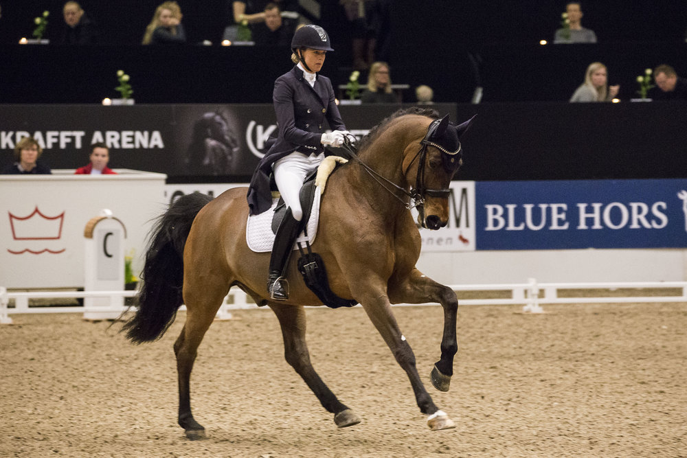 Marianne Yde Helgstrand and Super Mario at CDI3 Herning 2018. Photo credit: H2R