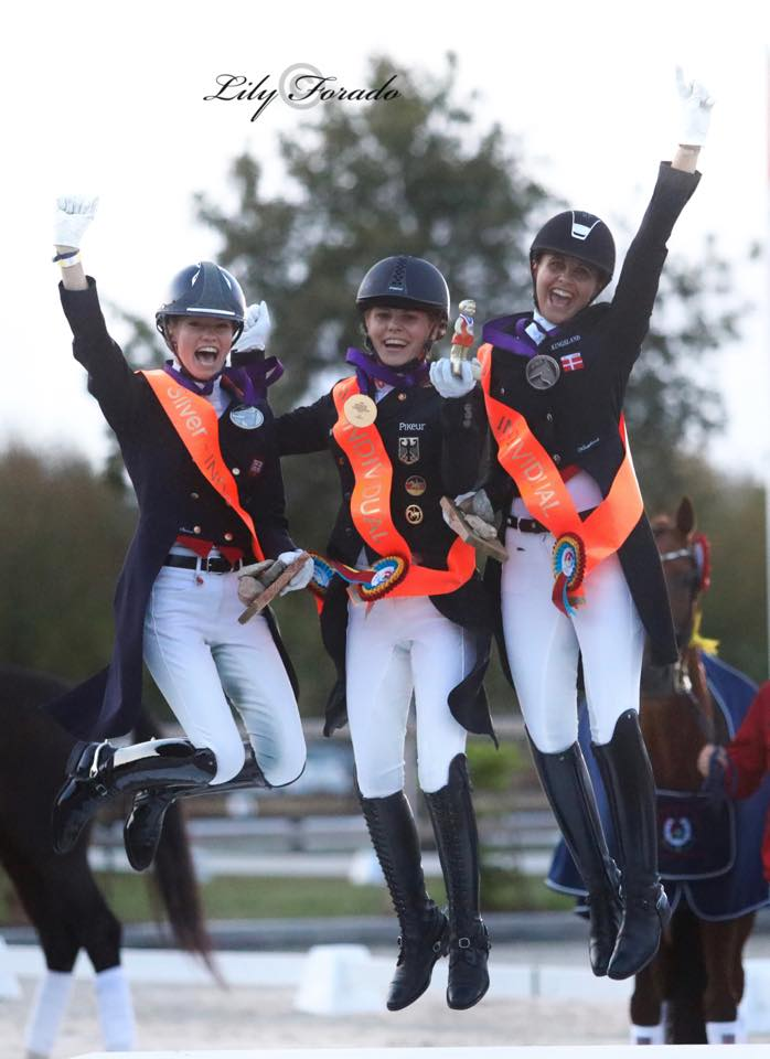 Very special moment today - with 3 jumping girls at the U25 podium - photo credit: Lily Forado.
