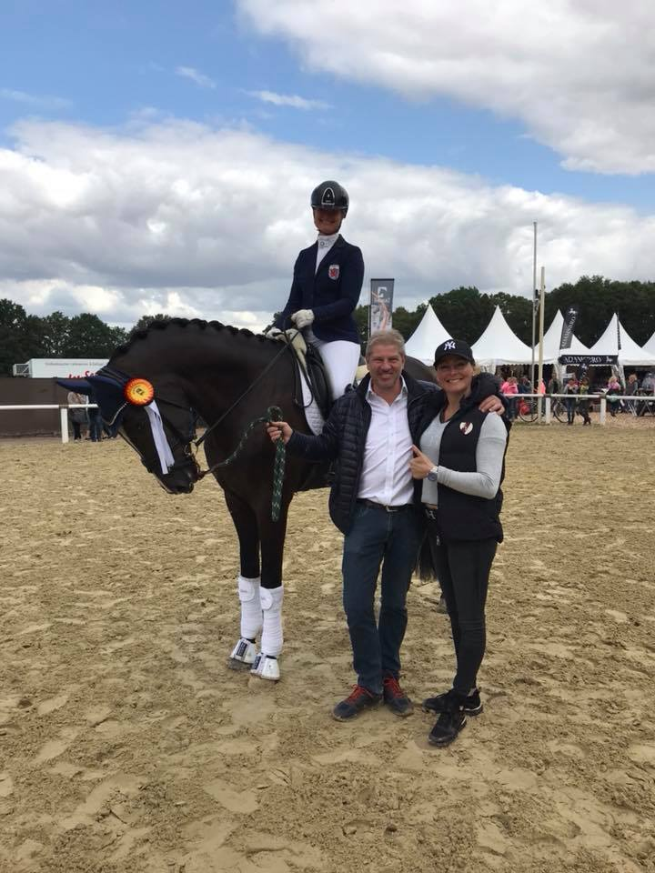 Spectre with rider and co-owner Kristine Møller, Jens Thorsen breeder and co-owner and trainer Fie Skarsø. Private photo.