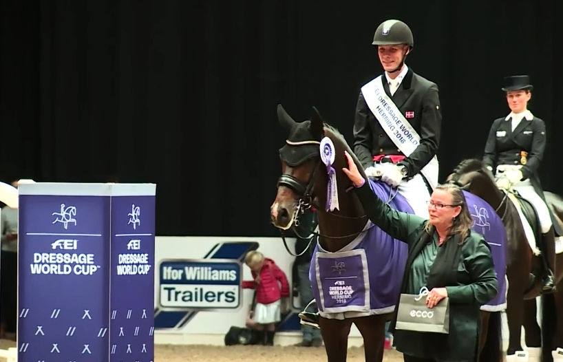 Blue Hors Zack with Daniel Bachmann Andersen and mail sponsor ECCO represented by Hanne Toosby Kasprzak.