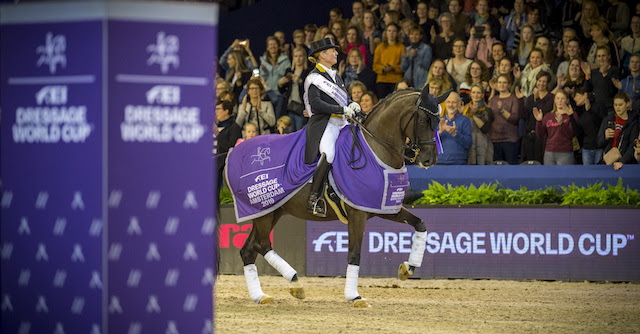 Four-time series champion, Germany's Isabell Werth, stamped her authority all over the opposition with another superb win at the eighth leg of the FEI Dressage World Cup™ 2018/2019 Western European League in Amsterdam (NED) today riding Weihegold OLD. (FEI/Arnd Bronkhorst)