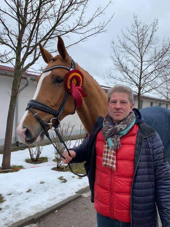 Proud breeder and owner Jens Thorsen with Sonnerie Souveraine - private photo.